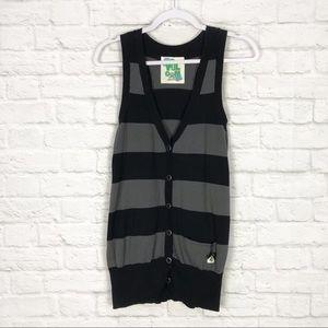 Volcom Longline Striped Cotton Button Up Vest XL